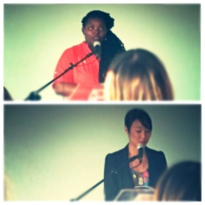 Mahogany L. Browne and Brynn Saito reading at the Annenberg Community Beach House, July 2015